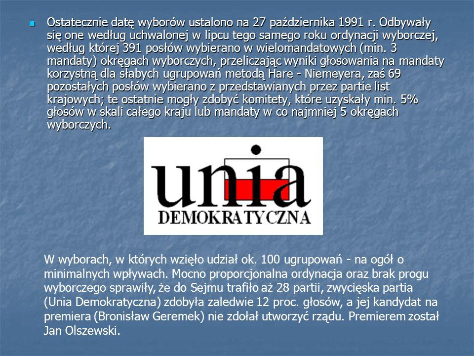 Ostatecznie datę wyborów ustalono na 27 października 1991 r.
