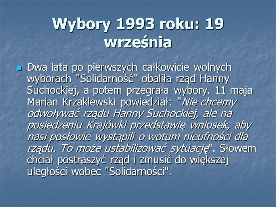 Wybory 1993 roku: 19 września Dwa lata po pierwszych całkowicie wolnych wyborach Solidarność obaliła rząd Hanny Suchockiej, a potem przegrała wybory.