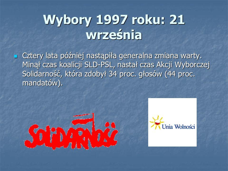 Wybory 1997 roku: 21 września Cztery lata później nastąpiła generalna zmiana warty.