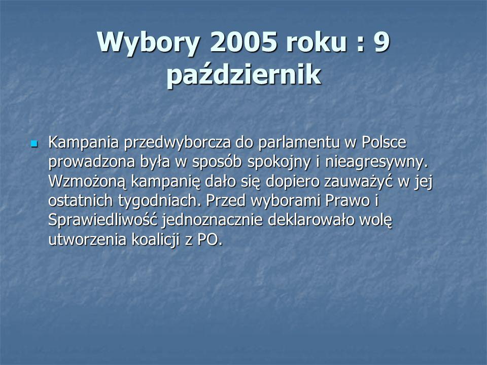 Wybory 2005 roku : 9 październik Kampania przedwyborcza do parlamentu w Polsce prowadzona była w sposób spokojny i nieagresywny.