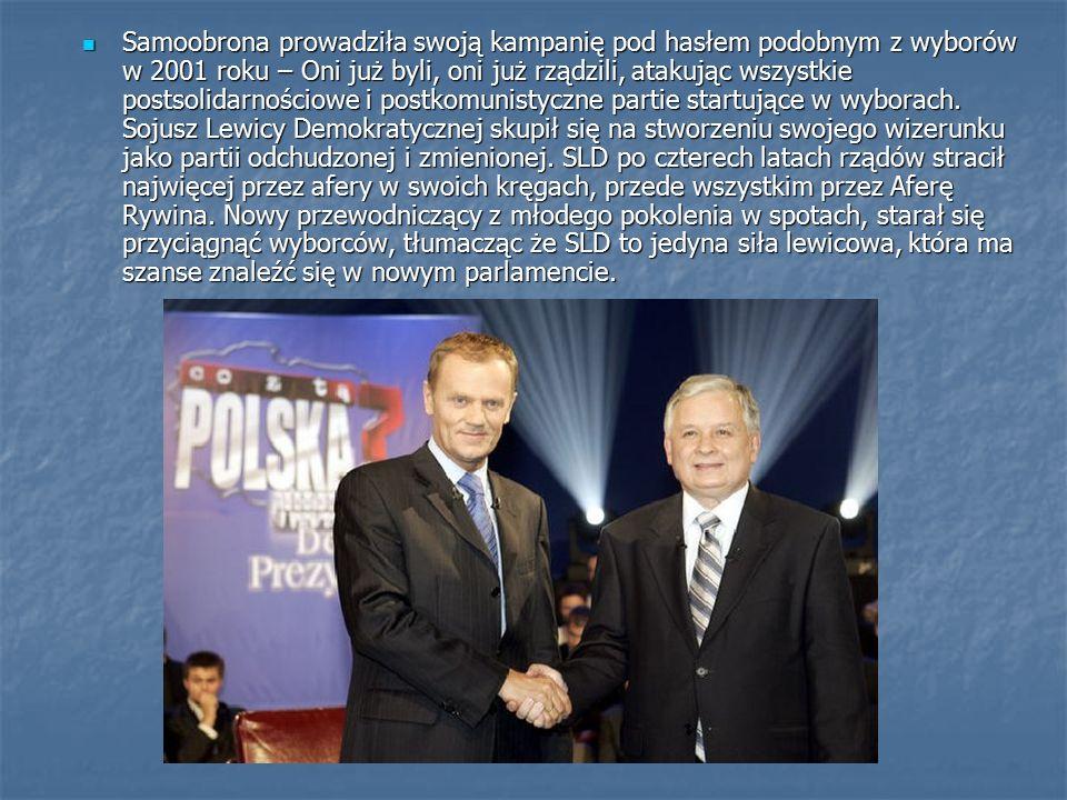 Samoobrona prowadziła swoją kampanię pod hasłem podobnym z wyborów w 2001 roku – Oni już byli, oni już rządzili, atakując wszystkie postsolidarnościowe i postkomunistyczne partie startujące w wyborach.