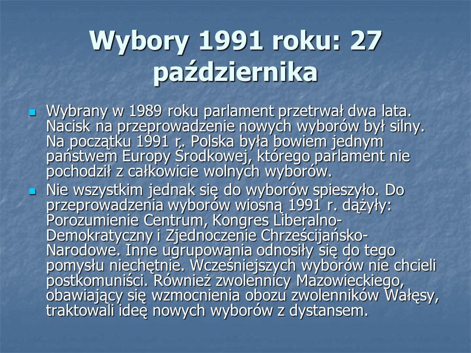 Wybory 1991 roku: 27 października Wybrany w 1989 roku parlament przetrwał dwa lata.