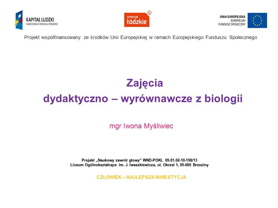 """Projekt """"Naukowy zawrót głowy WND-POKL 09.01.02-10-158/13 Liceum Ogólnokształcące im."""