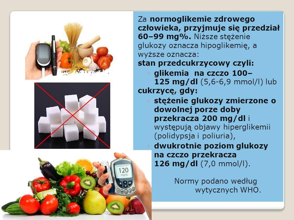 Za normoglikemie zdrowego człowieka, przyjmuje się przedział 60–99 mg%.