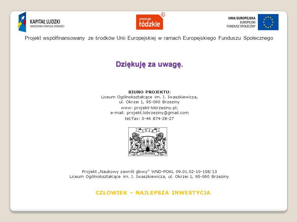 Projekt współfinansowany ze środków Unii Europejskiej w ramach Europejskiego Funduszu Społecznego Dziękuję za uwagę.