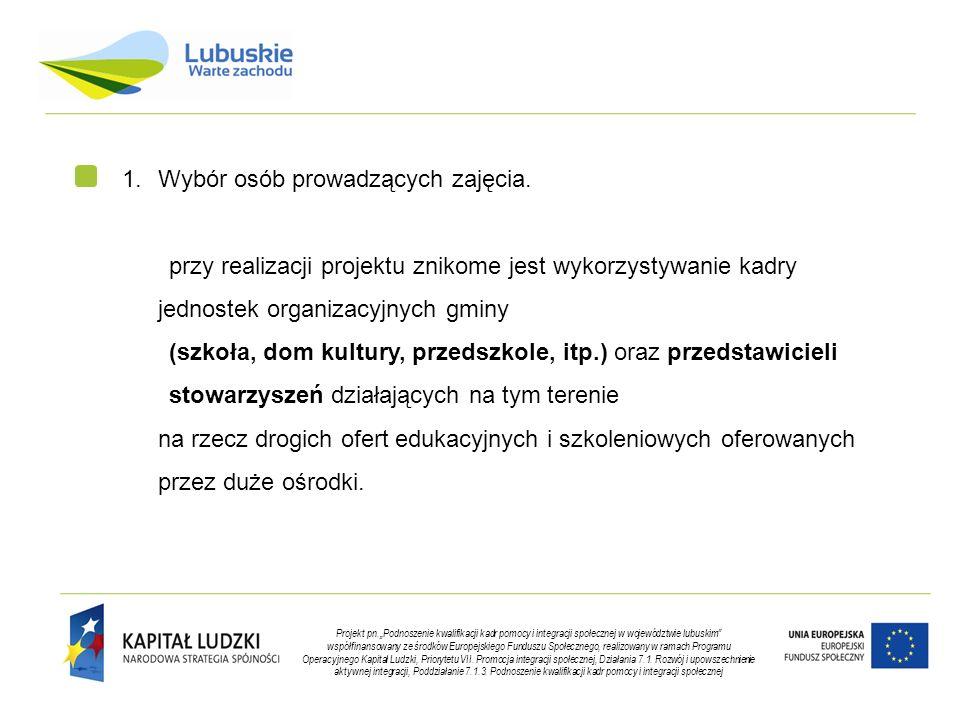 """Projekt pn.""""Podnoszenie kwalifikacji kadr pomocy i integracji społecznej w województwie lubuskim współfinansowany ze środków Europejskiego Funduszu Społecznego, realizowany w ramach Programu Operacyjnego Kapitał Ludzki, Priorytetu VII."""