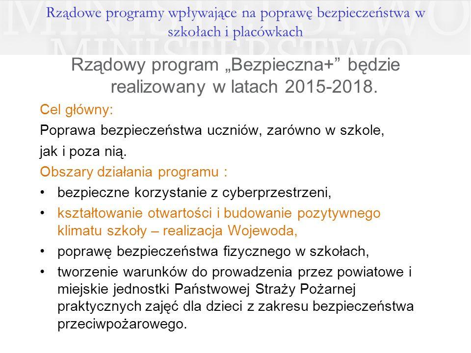 """Rządowe programy wpływające na poprawę bezpieczeństwa w szkołach i placówkach Rządowy program """"Bezpieczna+ będzie realizowany w latach 2015-2018."""
