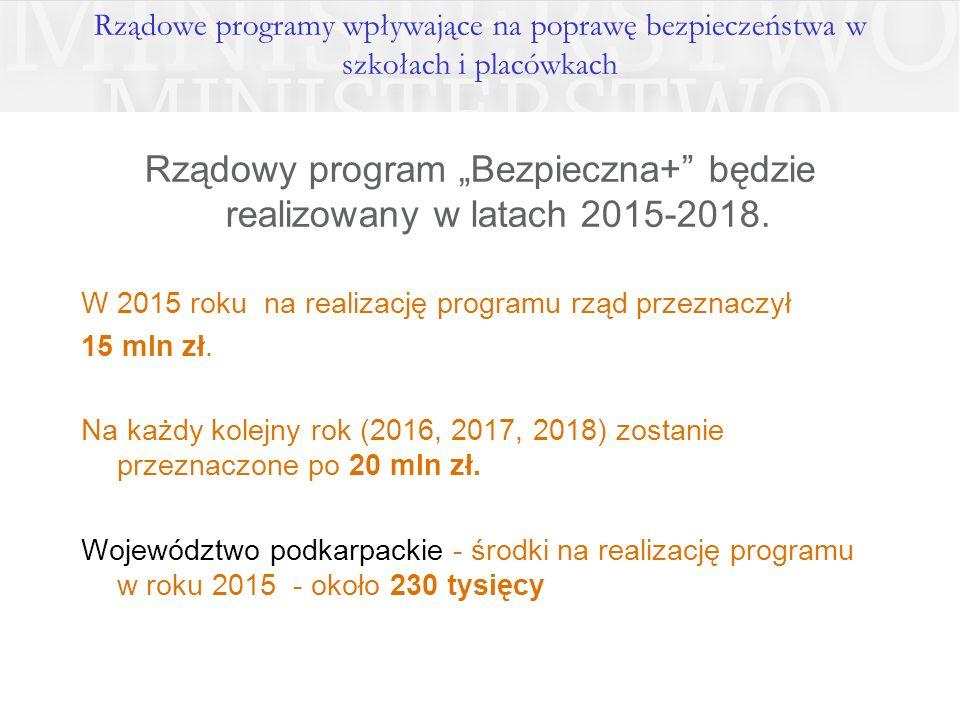 """Rządowe programy wpływające na poprawę bezpieczeństwa w szkołach i placówkach Rządowy program """"Bezpieczna+"""" będzie realizowany w latach 2015-2018. W 2"""