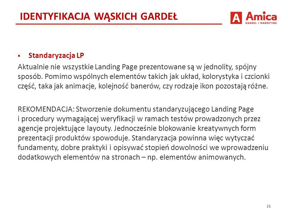  Standaryzacja LP Aktualnie nie wszystkie Landing Page prezentowane są w jednolity, spójny sposób.