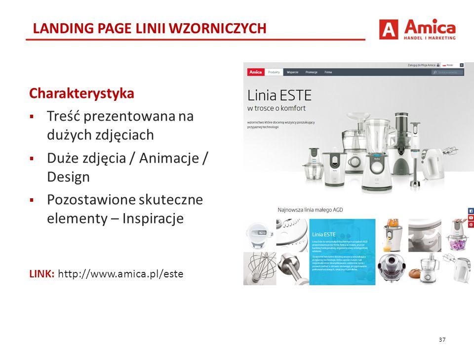 37 LANDING PAGE LINII WZORNICZYCH LINK: http://www.amica.pl/este Charakterystyka  Treść prezentowana na dużych zdjęciach  Duże zdjęcia / Animacje / Design  Pozostawione skuteczne elementy – Inspiracje