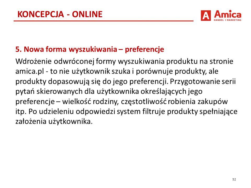 5. Nowa forma wyszukiwania – preferencje Wdrożenie odwróconej formy wyszukiwania produktu na stronie amica.pl - to nie użytkownik szuka i porównuje pr