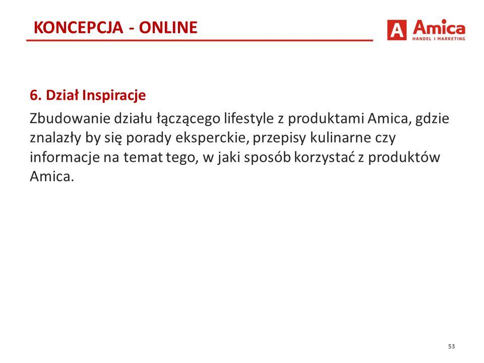 6. Dział Inspiracje Zbudowanie działu łączącego lifestyle z produktami Amica, gdzie znalazły by się porady eksperckie, przepisy kulinarne czy informac