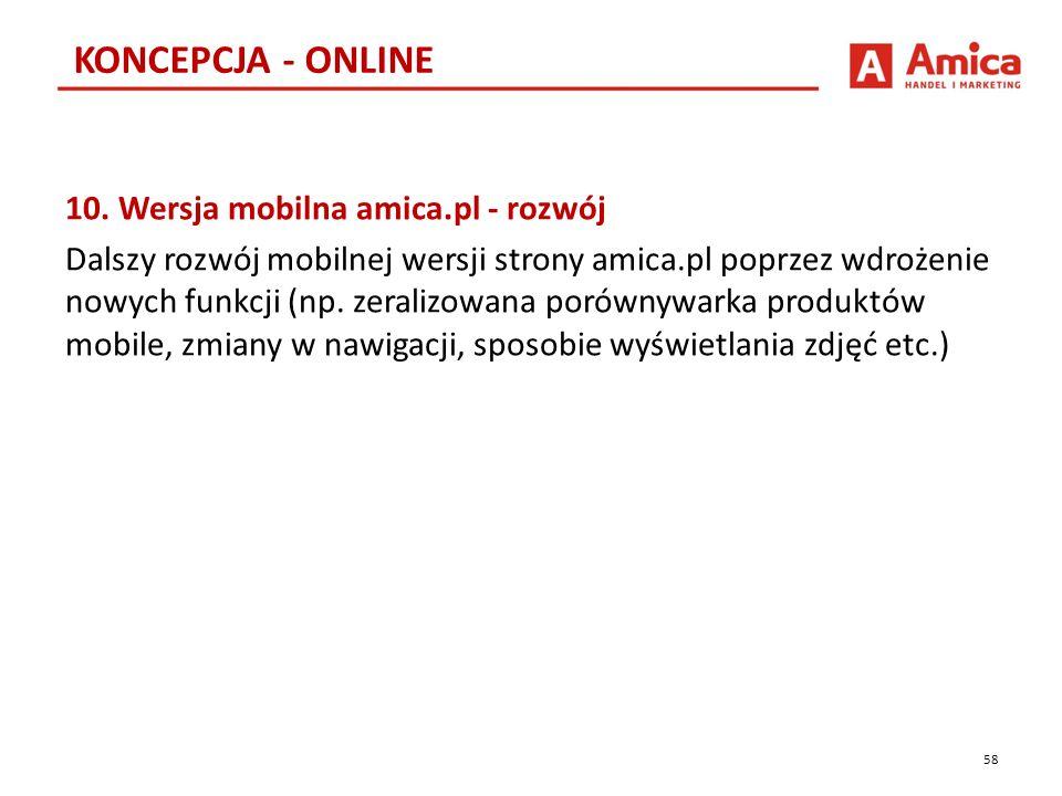 10. Wersja mobilna amica.pl - rozwój Dalszy rozwój mobilnej wersji strony amica.pl poprzez wdrożenie nowych funkcji (np. zeralizowana porównywarka pro