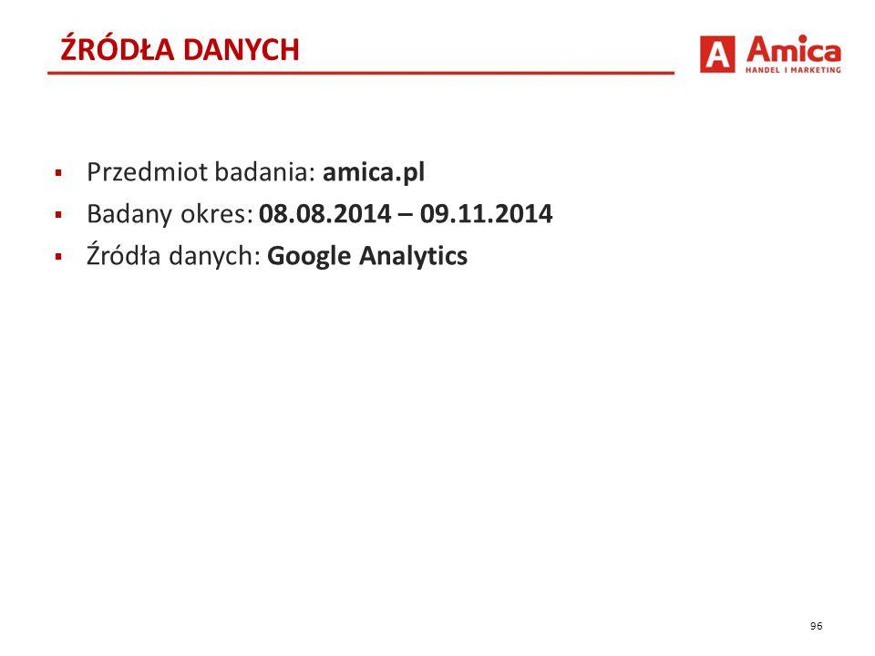  Przedmiot badania: amica.pl  Badany okres: 08.08.2014 – 09.11.2014  Źródła danych: Google Analytics 96 ŹRÓDŁA DANYCH