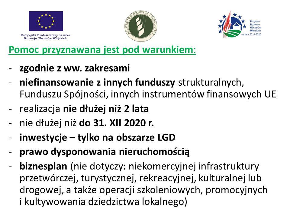 Pomoc przyznawana jest pod warunkiem: -zgodnie z ww. zakresami -niefinansowanie z innych funduszy strukturalnych, Funduszu Spójności, innych instrumen
