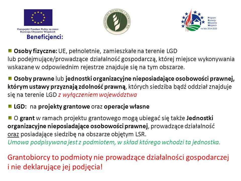 Beneficjenci: Osoby fizyczne: UE, pełnoletnie, zamieszkałe na terenie LGD lub podejmujące/prowadzące działalność gospodarczą, której miejsce wykonywan