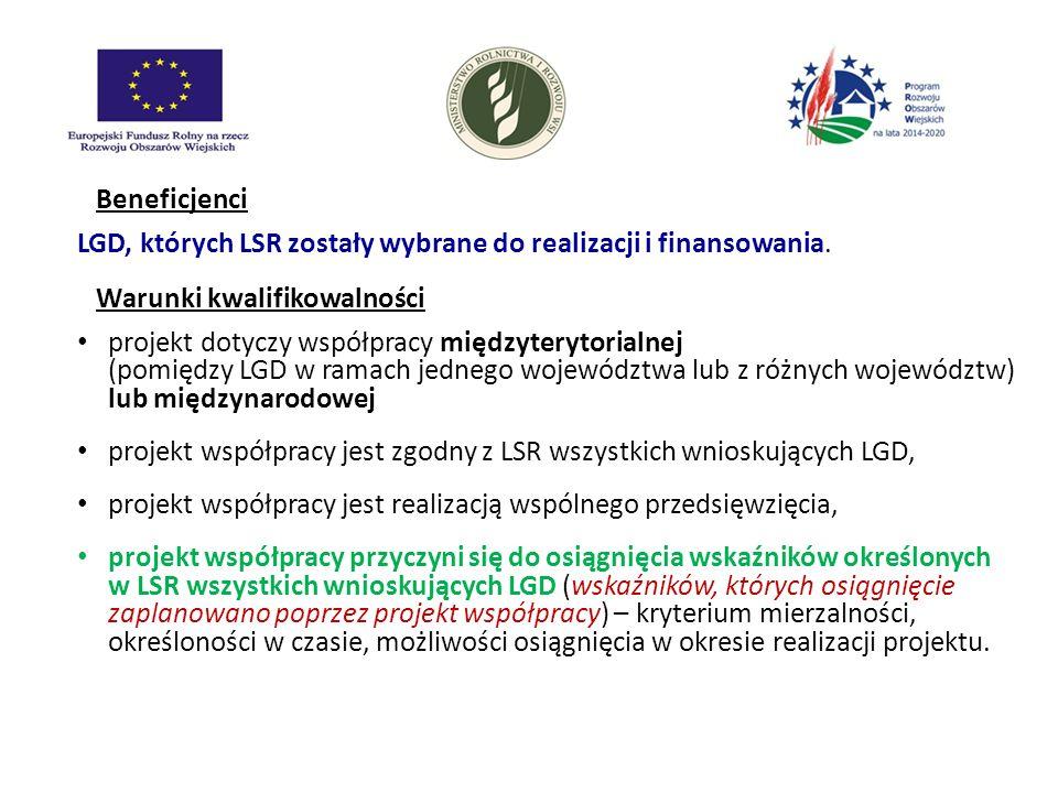 Beneficjenci LGD, których LSR zostały wybrane do realizacji i finansowania. Warunki kwalifikowalności projekt dotyczy współpracy międzyterytorialnej (