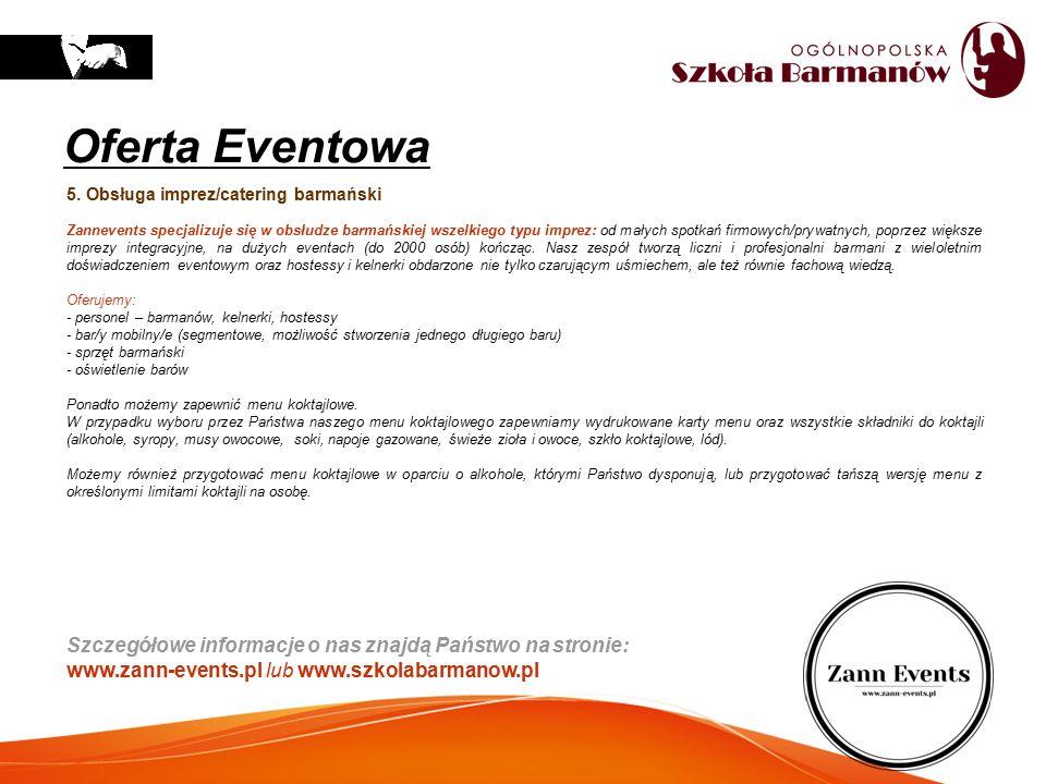 5. Obsługa imprez/catering barmański Zannevents specjalizuje się w obsłudze barmańskiej wszelkiego typu imprez: od małych spotkań firmowych/prywatnych