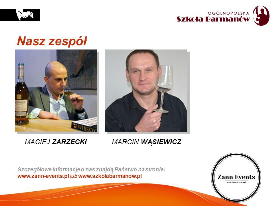 Nasz zespół Szczegółowe informacje o nas znajdą Państwo na stronie: www.zann-events.pl lub www.szkolabarmanow.pl MACIEJ ZARZECKI MARCIN WĄSIEWICZ