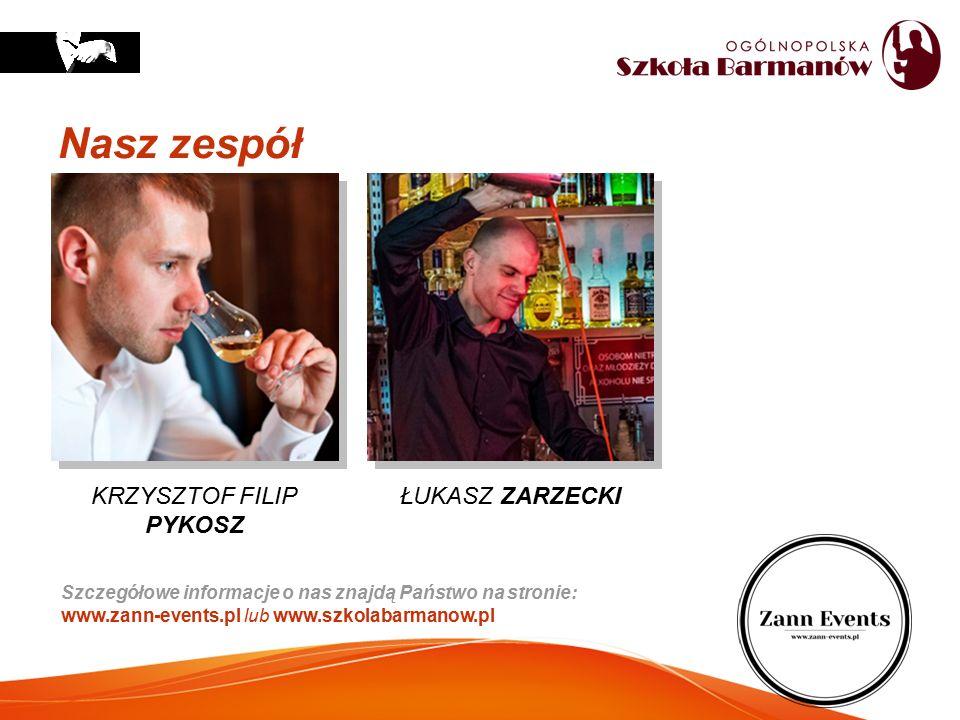 Nasz zespół Szczegółowe informacje o nas znajdą Państwo na stronie: www.zann-events.pl lub www.szkolabarmanow.pl KRZYSZTOF FILIP PYKOSZ ŁUKASZ ZARZECK