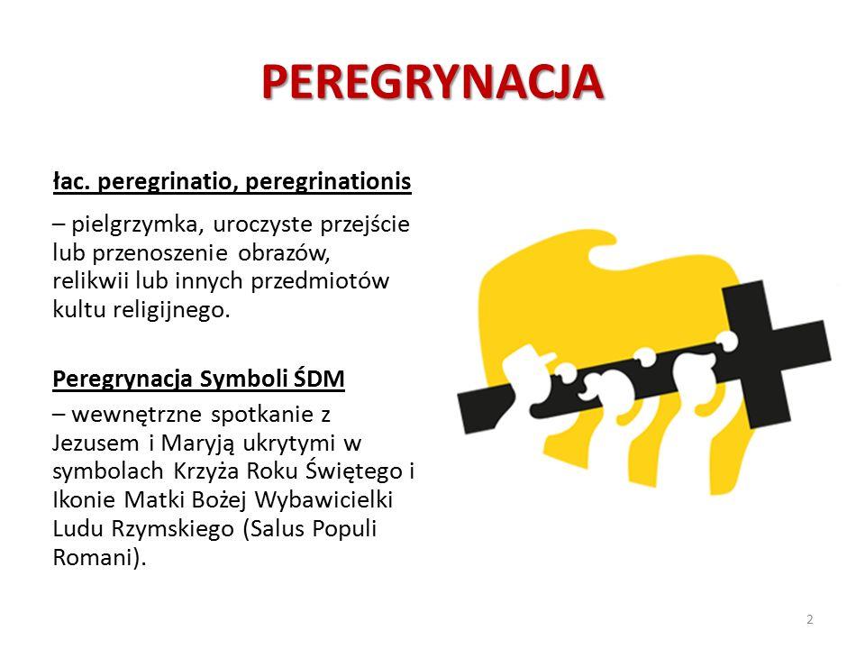 PEREGRYNACJA łac. peregrinatio, peregrinationis – pielgrzymka, uroczyste przejście lub przenoszenie obrazów, relikwii lub innych przedmiotów kultu rel