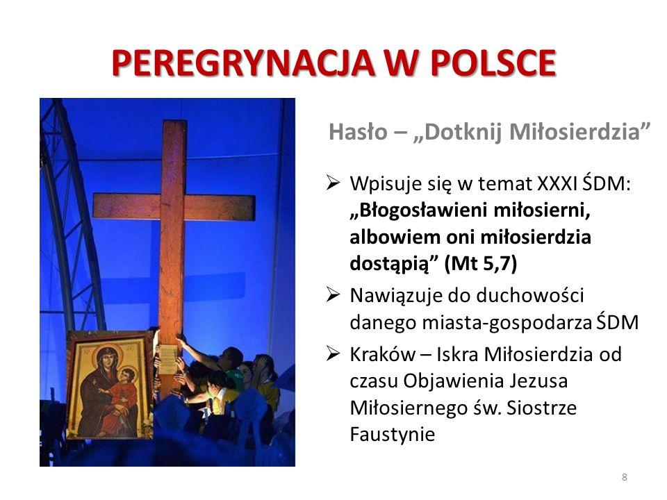 """PEREGRYNACJA W POLSCE Hasło – """"Dotknij Miłosierdzia""""  Wpisuje się w temat XXXI ŚDM: """"Błogosławieni miłosierni, albowiem oni miłosierdzia dostąpią"""" (M"""