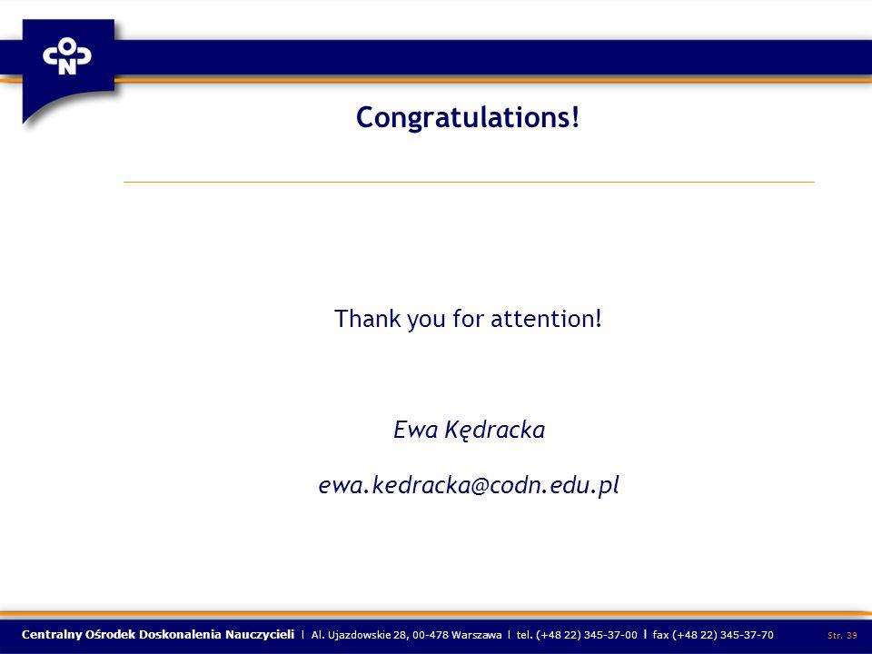 Centralny Ośrodek Doskonalenia Nauczycieli l Al. Ujazdowskie 28, 00-478 Warszawa l tel.