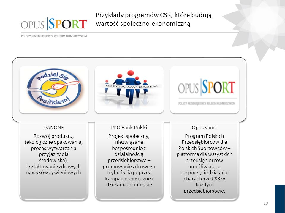 Przykłady programów CSR, które budują wartość społeczno-ekonomiczną 10 DANONE Rozwój produktu, (ekologiczne opakowania, proces wytwarzania przyjazny d
