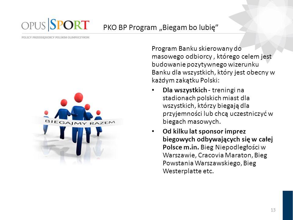 Program Banku skierowany do masowego odbiorcy, którego celem jest budowanie pozytywnego wizerunku Banku dla wszystkich, który jest obecny w każdym zakątku Polski: Dla wszystkich - treningi na stadionach polskich miast dla wszystkich, którzy biegają dla przyjemności lub chcą uczestniczyć w biegach masowych.