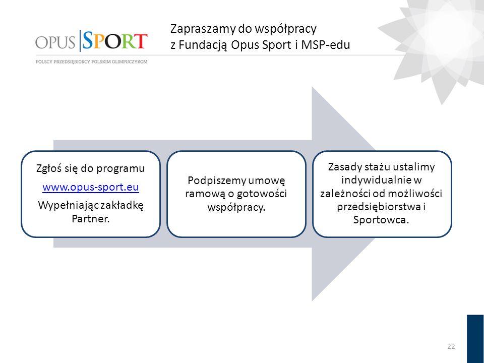 Zapraszamy do współpracy z Fundacją Opus Sport i MSP-edu Zgłoś się do programu www.opus-sport.eu Wypełniając zakładkę Partner. Podpiszemy umowę ramową