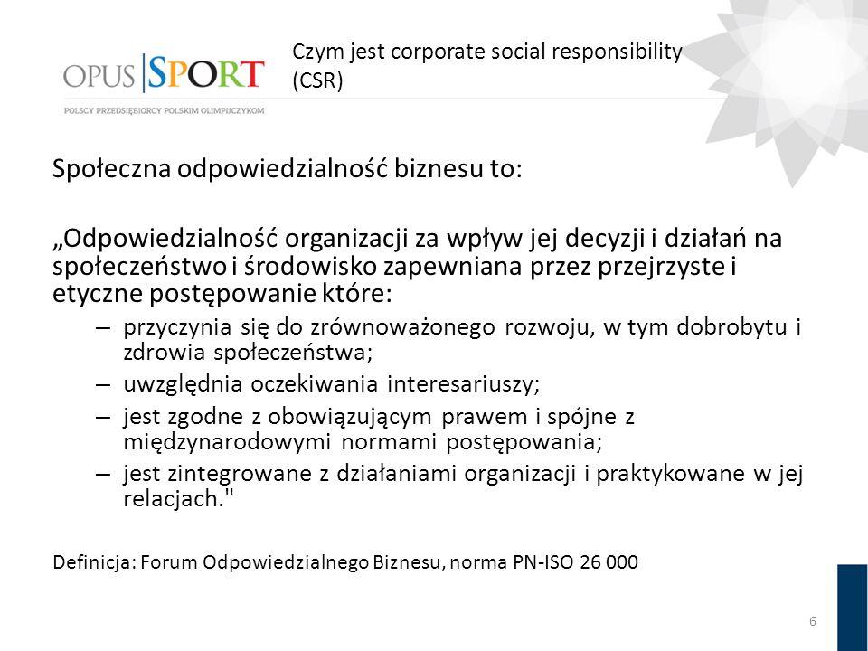 """Czym jest corporate social responsibility (CSR) Społeczna odpowiedzialność biznesu to: """"Odpowiedzialność organizacji za wpływ jej decyzji i działań na"""