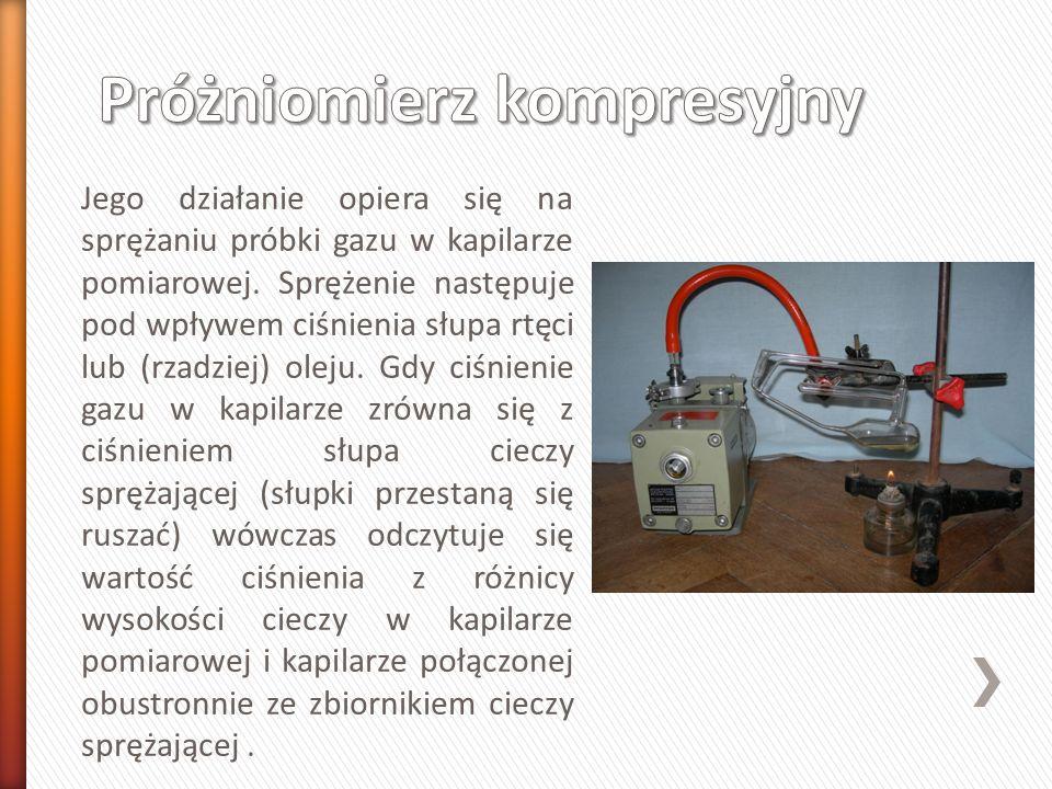 Jego działanie opiera się na sprężaniu próbki gazu w kapilarze pomiarowej.