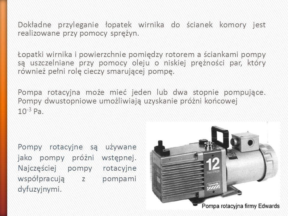 Dokładne przyleganie łopatek wirnika do ścianek komory jest realizowane przy pomocy sprężyn. Łopatki wirnika i powierzchnie pomiędzy rotorem a ścianka