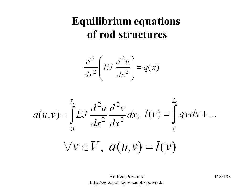 Andrzej Pownuk http://zeus.polsl.gliwice.pl/~pownuk 118/138 Equilibrium equations of rod structures
