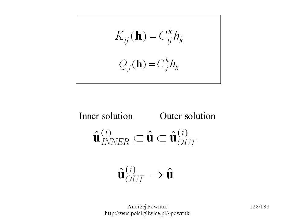 Andrzej Pownuk http://zeus.polsl.gliwice.pl/~pownuk 128/138 Inner solutionOuter solution