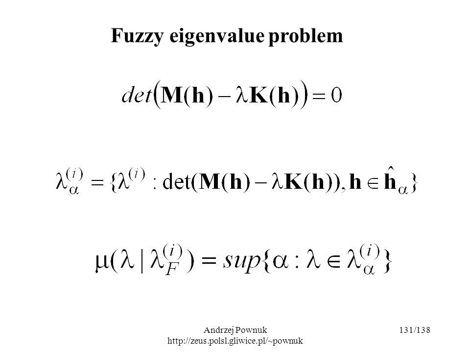 Andrzej Pownuk http://zeus.polsl.gliwice.pl/~pownuk 131/138 Fuzzy eigenvalue problem
