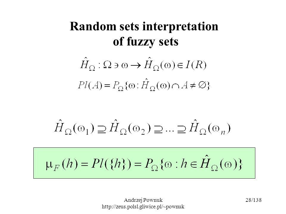 Andrzej Pownuk http://zeus.polsl.gliwice.pl/~pownuk 28/138 Random sets interpretation of fuzzy sets