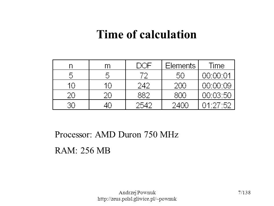 Andrzej Pownuk http://zeus.polsl.gliwice.pl/~pownuk 7/138 Time of calculation Processor: AMD Duron 750 MHz RAM: 256 MB