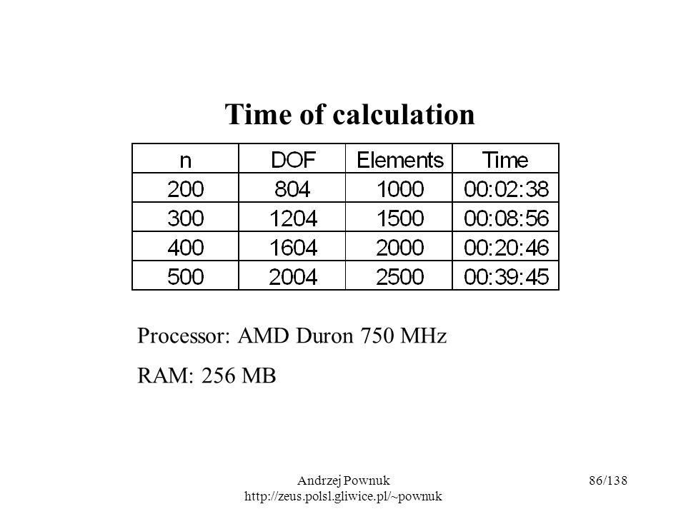 Andrzej Pownuk http://zeus.polsl.gliwice.pl/~pownuk 86/138 Time of calculation Processor: AMD Duron 750 MHz RAM: 256 MB
