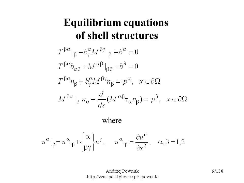 Andrzej Pownuk http://zeus.polsl.gliwice.pl/~pownuk 70/138 Plane stress problem in theory of elasticity  - mass density, E, - material constant, - mass force.