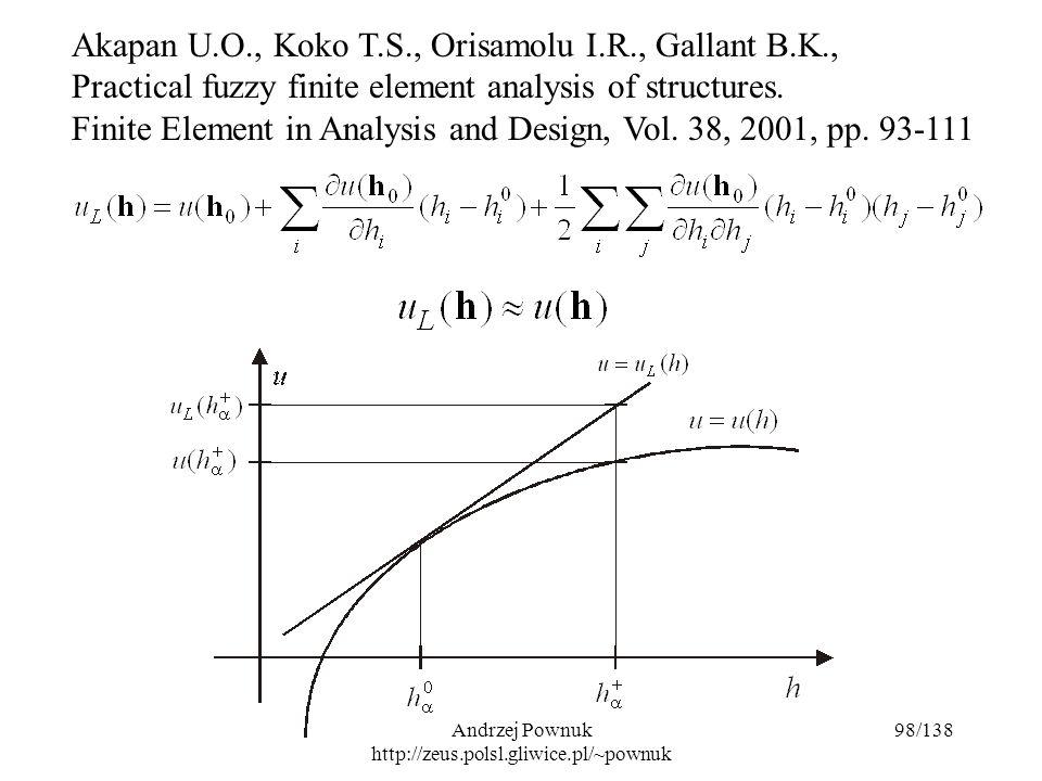 Andrzej Pownuk http://zeus.polsl.gliwice.pl/~pownuk 98/138 Akapan U.O., Koko T.S., Orisamolu I.R., Gallant B.K., Practical fuzzy finite element analysis of structures.