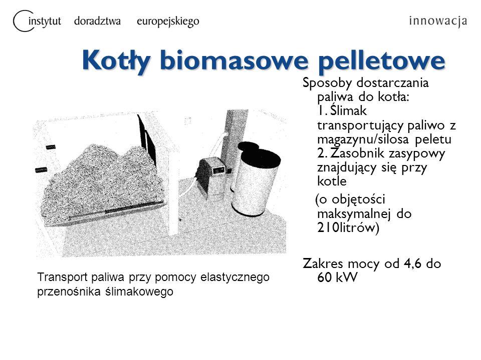 Kotły biomasowe pelletowe Sposoby dostarczania paliwa do kotła: 1. Ślimak transportujący paliwo z magazynu/silosa peletu 2. Zasobnik zasypowy znajdują