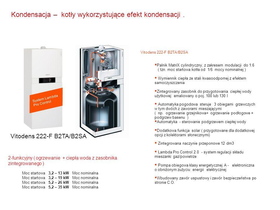 System Lambda Pro Control Vitodens 222-F B2TA/B2SA  Palnik MatriX cylindryczny, z zakresem modulacji do 1:6 ( tzn. moc startowa kotła od 1/6 mocy nom