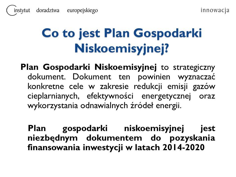 Co to jest Plan Gospodarki Niskoemisyjnej? Plan Gospodarki Niskoemisyjnej to strategiczny dokument. Dokument ten powinien wyznaczać konkretne cele w z