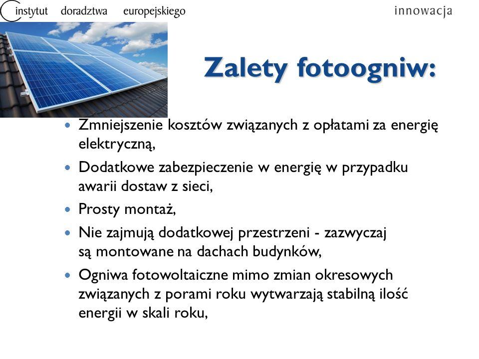 Zmniejszenie kosztów związanych z opłatami za energię elektryczną, Dodatkowe zabezpieczenie w energię w przypadku awarii dostaw z sieci, Prosty montaż