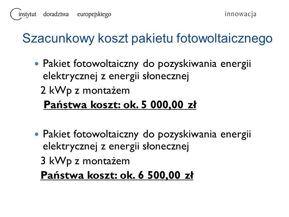 Pakiet fotowoltaiczny do pozyskiwania energii elektrycznej z energii słonecznej 2 kWp z montażem Państwa koszt: ok. 5 000,00 zł Pakiet fotowoltaiczny