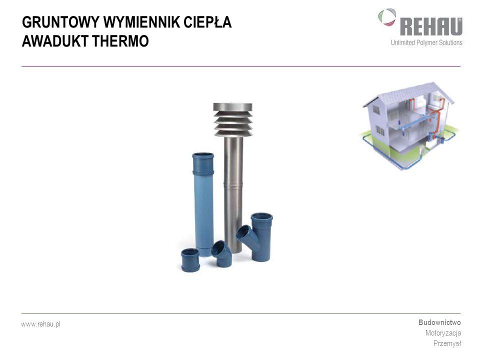 GRUNTOWY WYMIENNIK CIEPŁA AWADUKT THERMO Budownictwo Motoryzacja Przemysł www.rehau.pl Gruntowy wymiennik ciepła AWADUKT Thermo - wymierne korzyści w systemach wentylacji mechanicznej z odzyskiem ciepła!