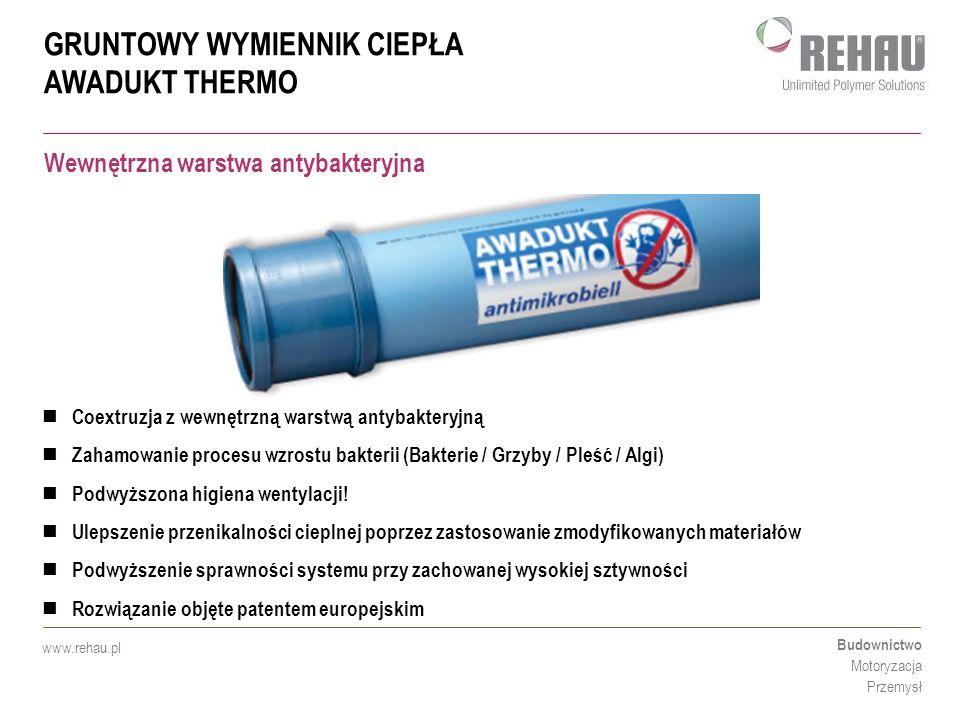 GRUNTOWY WYMIENNIK CIEPŁA AWADUKT THERMO Budownictwo Motoryzacja Przemysł www.rehau.pl Wewnętrzna warstwa antybakteryjna Coextruzja z wewnętrzną warst