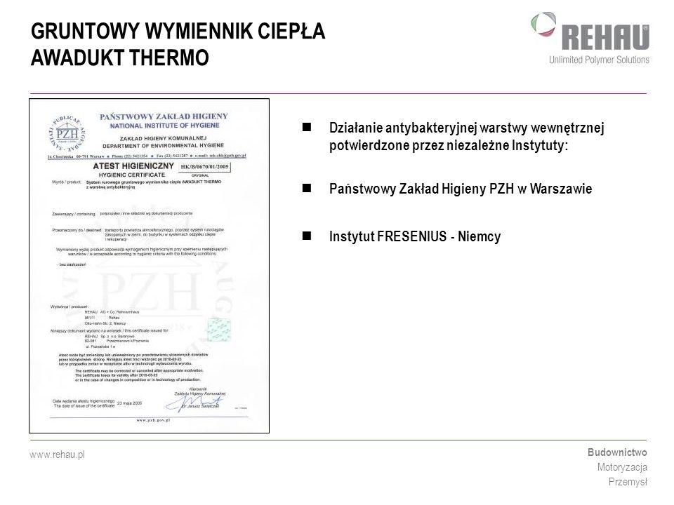 GRUNTOWY WYMIENNIK CIEPŁA AWADUKT THERMO Budownictwo Motoryzacja Przemysł www.rehau.pl Działanie antybakteryjnej warstwy wewnętrznej potwierdzone prze