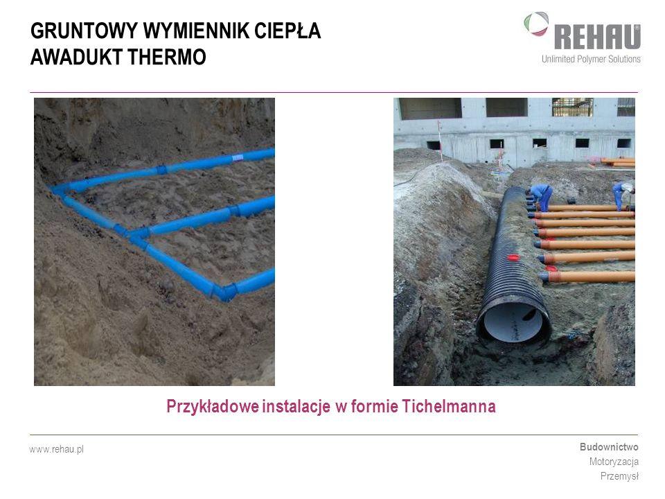GRUNTOWY WYMIENNIK CIEPŁA AWADUKT THERMO Budownictwo Motoryzacja Przemysł www.rehau.pl Przykładowe instalacje w formie Tichelmanna